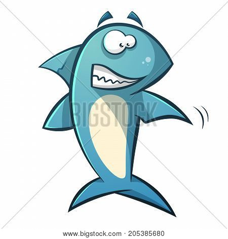 Black line cartoon shark illustration. Vector, eps 10