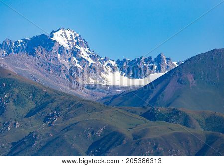 beautiful mountains in Kyrgyzstan . In the park in nature
