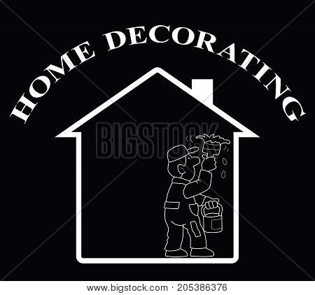 Representation of home decorating isolated on black background
