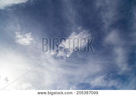 clouds on a blue sky day . In the park in nature