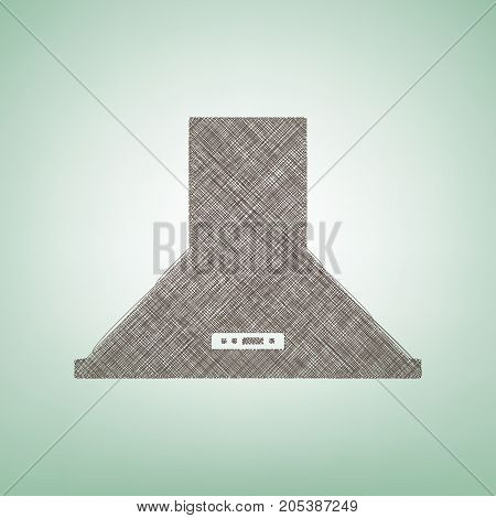 Exhaust hood. Kitchen ventilation sign. Vector. Brown flax icon on green background with light spot at the center.