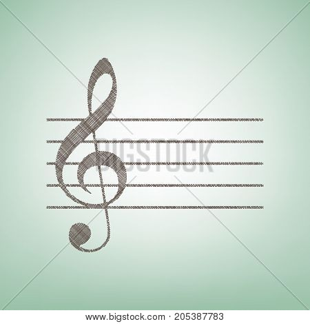 Music violin clef sign. G-clef. Vector. Brown flax icon on green background with light spot at the center.