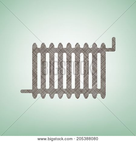 Radiator sign. Vector. Brown flax icon on green background with light spot at the center.