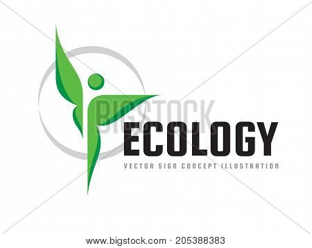 Ecology - green leaves - vector logo concept illustration. Human character abstract symbol. Health positive symbol. Design element.
