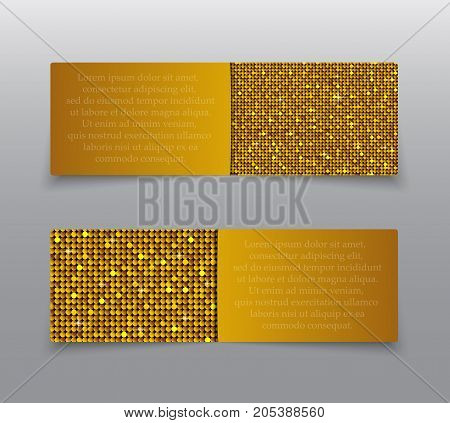 Horizontal Set of Gold Sequins Banners Template for Business Design, Infographics. Golden Mosaic, Sequins, Glitter, Sparkle, Stars. Vector Illustration. Card Brochure Business Card Probe.