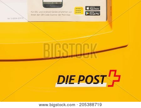 Wallisellen, Switzerland - 23 September, 2017: partial view of a letter box of the Swiss Post. The Swiss Post is the national postal service of Switzerland, being a public company owned by the Swiss Confederation.