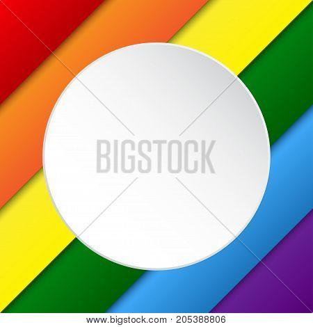 Vector Diagonal LGBT Elements Background. Lgbt Rainbow Flag. Gay Colors. Gay Community Symbol. Vector Background. White Circle
