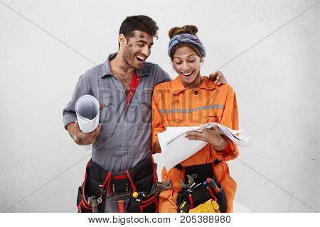 People, Teamwork And Cooperation Concept. Human Emotions. Horizontal Shot Of Happy Successful Young