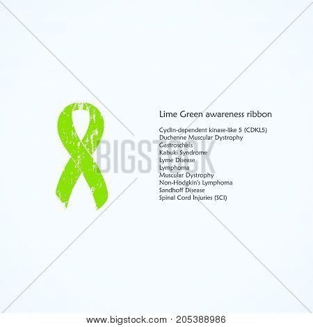 Lime Green awareness ribbon Painted. Cyclin-dependent kinase-like 5, CDKL5, Duchenne Muscular Dystrophy, Gastroschisis, Kabuki Syndrome, Lyme Disease, Lymphoma. List of meanings, symbol, name of color