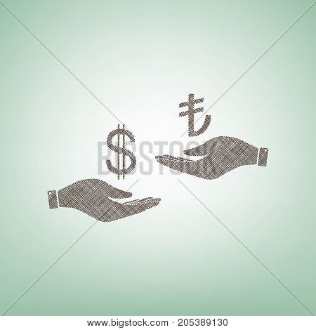 Currency exchange from hand to hand. Dollar and Turkey Lira. Vector. Brown flax icon on green background with light spot at the center.