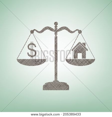 House and dollar symbol on scales. Vector. Brown flax icon on green background with light spot at the center.
