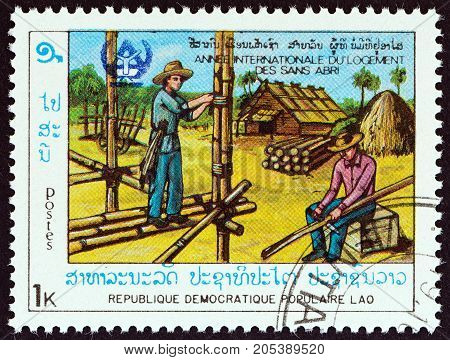 LAOS - CIRCA 1987: A stamp printed in Laos from the