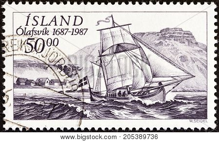ICELAND - CIRCA 1987: A stamp printed in Iceland issued for the 300th anniversary of Olafsvik Trading Station shows ship Svanur (ketch), circa 1987.