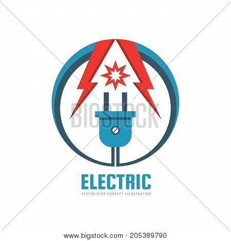 Electric - vector logo template concept illustration. Electrical energy power industry creative sign. Lightning and star symbols. Design element.