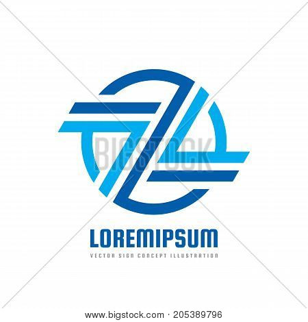 Logo template concept illustration. Abstract stripes in circle. Letter z creative business sign. Design geometric element.