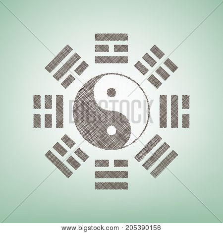 Yin and yang sign with bagua arrangement. Vector. Brown flax icon on green background with light spot at the center.