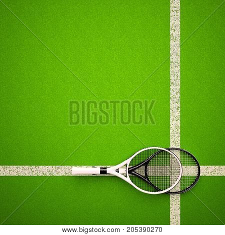 Tennis rackets on hard surface court. Square. 3D illustration