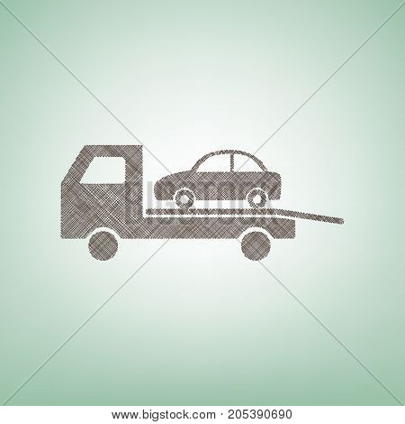 Tow car evacuation sign. Vector. Brown flax icon on green background with light spot at the center.