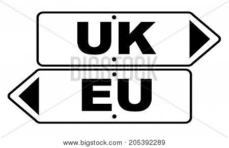 Europe and United Kingdom arrow signs over a white background