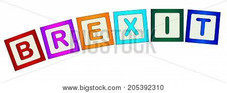 A collection of wooden block letters spelling Brexit on a white background