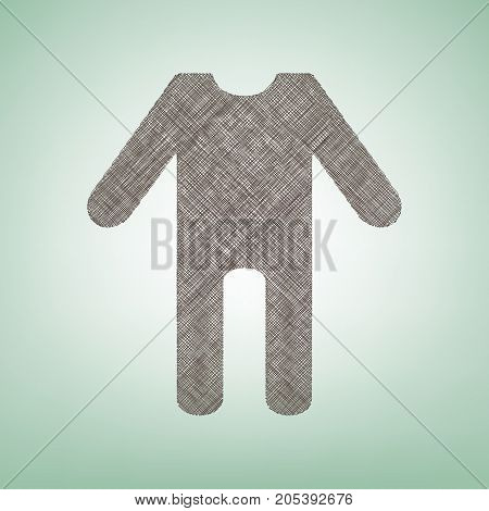 baby clothes sign. Vector. Brown flax icon on green background with light spot at the center.