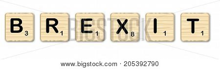 Wooden letters spelling brexit on a white background