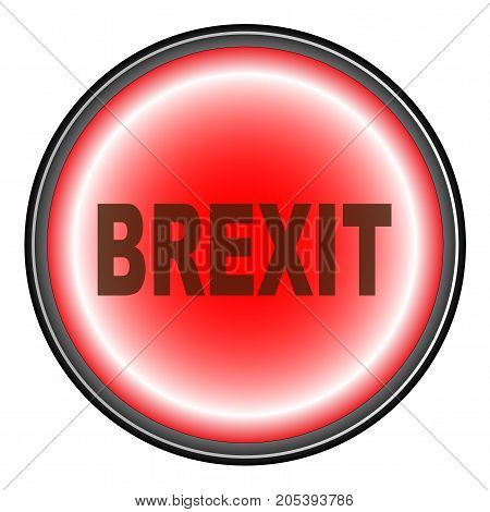A Brexit button in red isolated on white