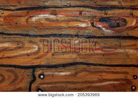 Wood pattern on cement background. Paint on cement.