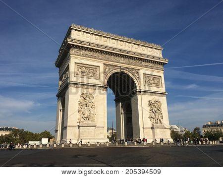 Arc de Triomphe Arch of triumph on Charles de Gaulle Etoile place Les Champs Elysees Paris France