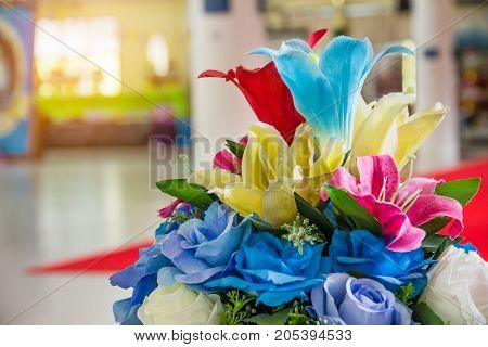 Rose fake flower and Floral backgroundrose flowers made of fabricThe fabric flowers bouquetColorful of decoration artificial flower