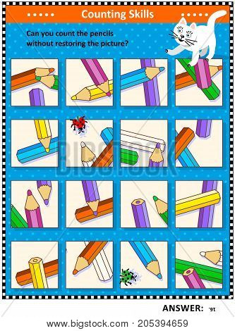 IQ training visual puzzle (suitable both for kids and adults): Can you count the pencils without assembling the picture puzzle? Answer included.