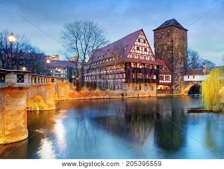 Nuremberg Germany at Bridge at a night