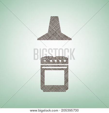 Electric or gas stove and extractor kitchen hood sign. Vector. Brown flax icon on green background with light spot at the center.
