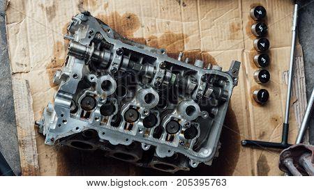 Disassembled Car Dirty Engine Cylinder At Garage