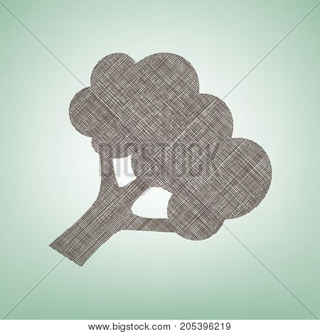 Broccoli branch sign. Vector. Brown flax icon on green background with light spot at the center.