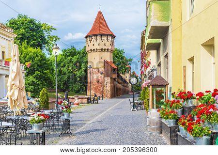 Medieval defense wall and The Carpenters' Tower in Sibiu Transylvania Romania.