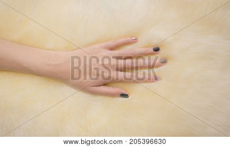 Hand touching fur carpet. Soft touch on fur.