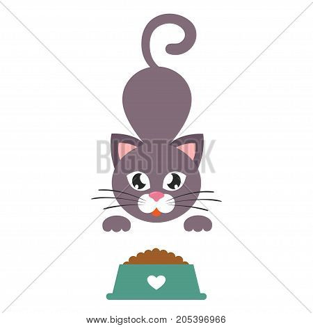Vector image of a cartoon cat with a bowl vector