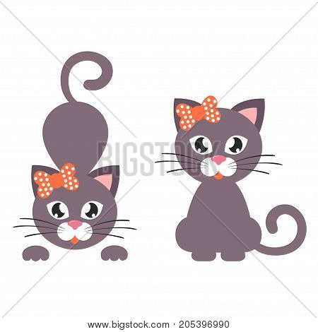 Vector image of a cartoon cat with bow set