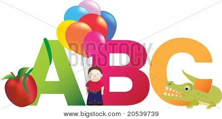 The letters abc made up from alphabet cartoon letters with matching animals and objects