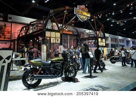 Bangkok Motor show Thailand Muang Thong Thani - March 302017 : Harley davidson show boothstreet 750 .