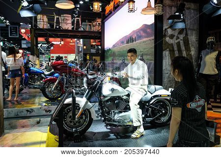 Bangkok Motor show Thailand Muang Thong Thani - March 302017 : Harley davidson show boothsoftail .