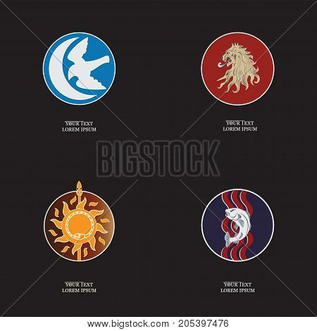 Set of posters with animals. Game banners with animals in a circle and with space for text. Design for thematic websites, printing on paper or cloth