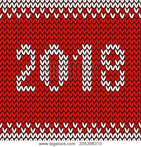 Knitted Christmas Background. Happy New Year 2018. New Year Seamless Knitted Pattern With Number 201