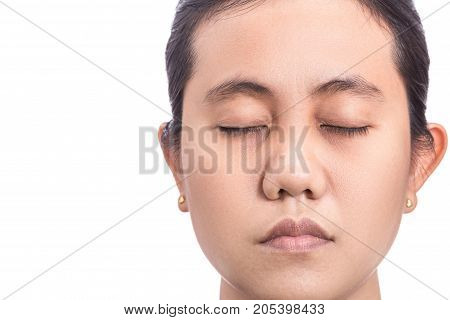 Asian Woman Showing Face Skin Problem With Big Eyes Bag, Skin Pore. Isolated On White Background. Sk