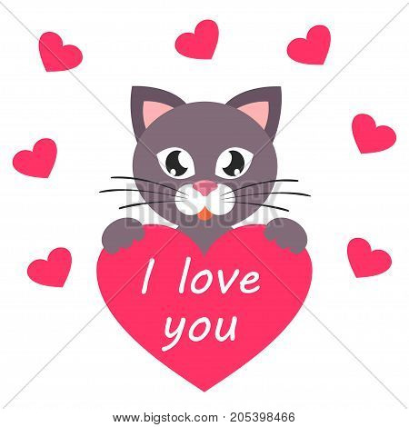 cartoon cat with heart and text vector