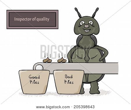 Green bug as a inspector of quality of small stinky piles. Cartoon illustration.