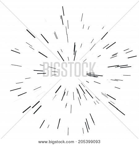 Sun burst, star burst sunshine. Radiating from the center of thin beams, lines. Vector illustration. Design element for logo, signs Dynamic style Abstract explosion, speed motion lines from the middle