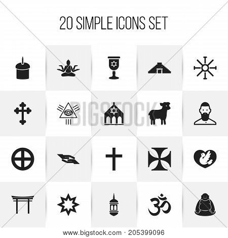 Set Of 20 Editable Faith Icons. Includes Symbols Such As Sacrifice Sheep, Plus In Circle, Feng ShUI And More