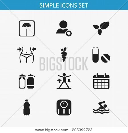 Set Of 12 Editable Fitness Icons. Includes Symbols Such As Profile, Pill, Plant And More